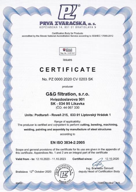3834-2: 2005 Заваряване с топене при производството на стоманени конструкции