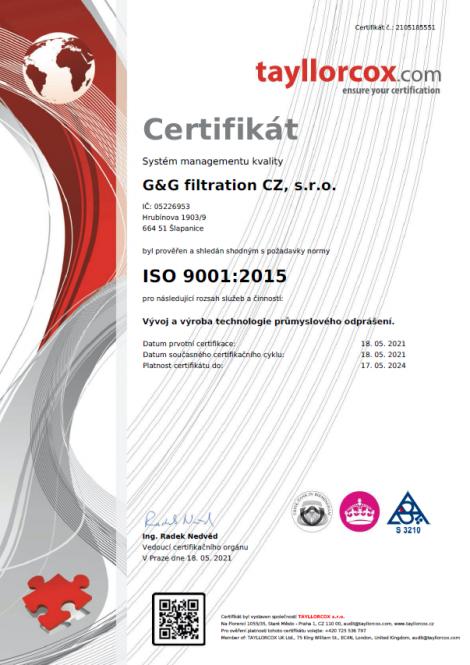 ISO 9001: 2015 Разработване и производство на индустриална технология за обезпрашаване.